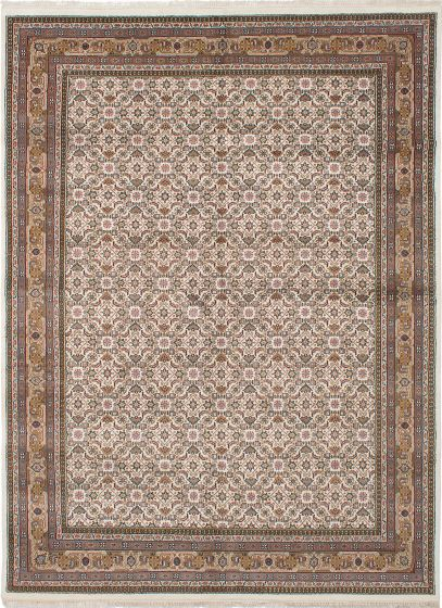 Traditional Ivory Area rug 9x12 Indian Hand-knotted 236081