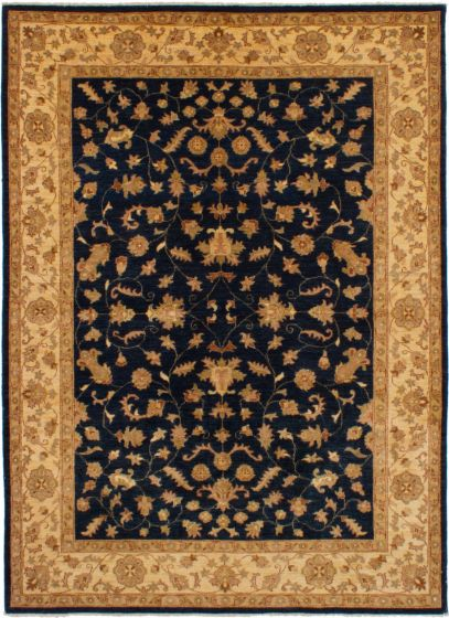 Bordered  Southwestern Blue Area rug 5x8 Afghan Hand-knotted 268235