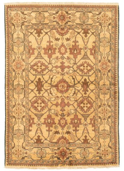 Bordered  Transitional Ivory Area rug 3x5 Afghan Hand-knotted 331287