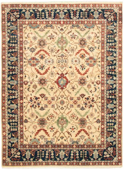 Bordered  Traditional Ivory Area rug 9x12 Indian Hand-knotted 331872