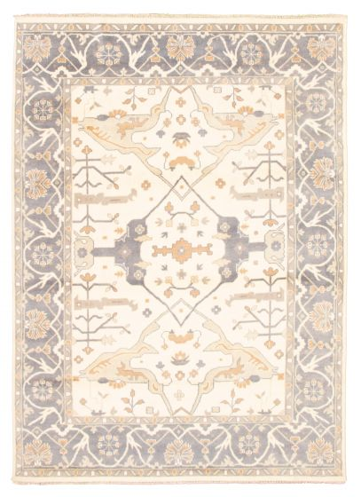 Bordered  Traditional Ivory Area rug 9x12 Indian Hand-knotted 344842