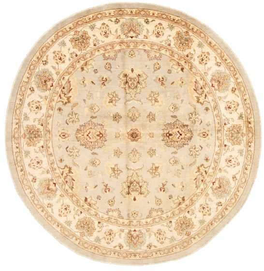Bordered  Traditional Grey Area rug Round Indian Hand-knotted 331508