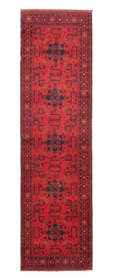Bordered  Traditional Red Runner rug 10-ft-runner Afghan Hand-knotted 342289