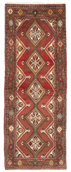 Bordered  Traditional Red Runner rug 8-ft-runner Persian Hand-knotted 358613