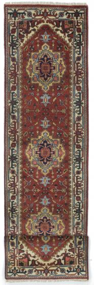 FloralTraditional Orange Runner rug 12-ft-runner Indian Hand-knotted 207580