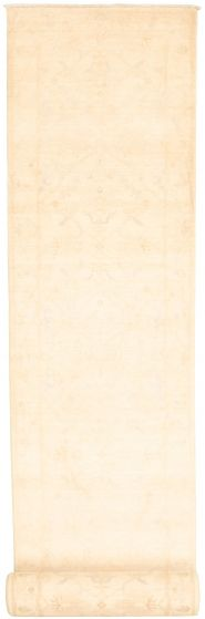 Bordered  Traditional Ivory Runner rug 26-ft-runner Pakistani Hand-knotted 319902