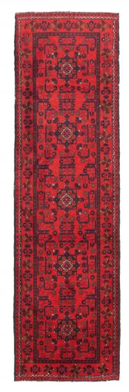 Bordered  Traditional Red Runner rug 9-ft-runner Afghan Hand-knotted 342297