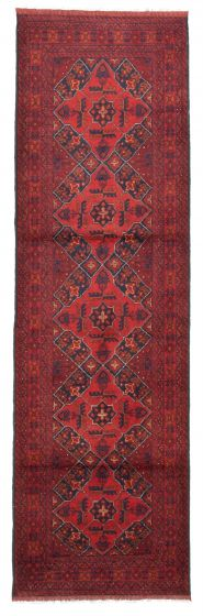 Bordered  Traditional Red Runner rug 10-ft-runner Afghan Hand-knotted 342350