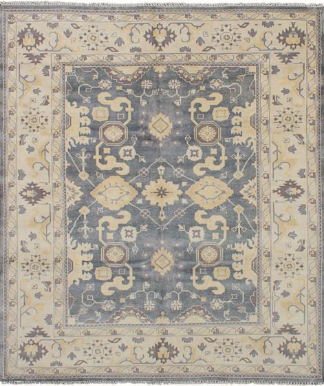 Bordered  Traditional Grey Area rug 6x9 Indian Hand-knotted 248946