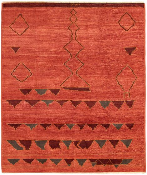 Casual  Transitional Brown Area rug 6x9 Indian Hand-knotted 292965