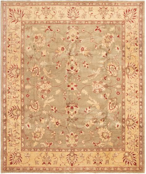 Bordered  Traditional Green Area rug 6x9 Afghan Hand-knotted 294018