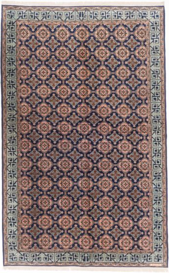 Traditional Blue Area rug 5x8 Turkish Hand-knotted 203631