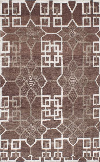 Transitional Brown Area rug 5x8 Indian Hand-knotted 221957