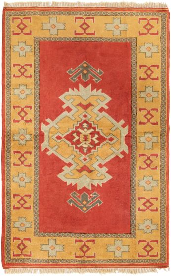 Geometric  Vintage Red Area rug 5x8 Turkish Hand-knotted 303647