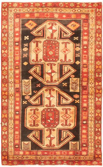 Bordered  Tribal Brown Area rug 4x6 Turkish Hand-knotted 320422