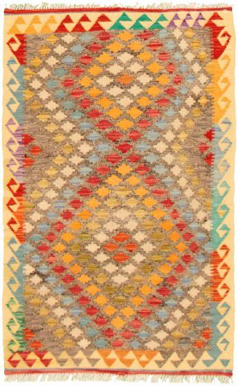 Bordered  Geometric Grey Area rug 3x5 Turkish Flat-weave 330243