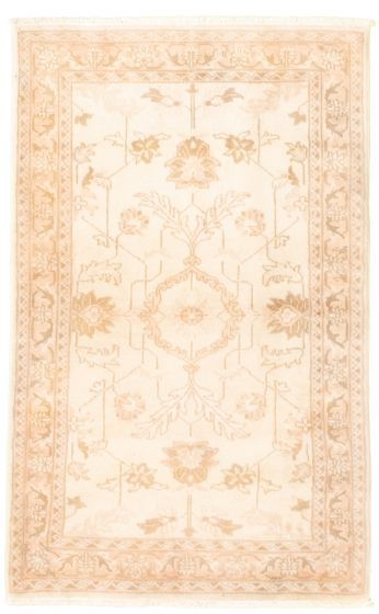 Bordered  Traditional Ivory Area rug 3x5 Afghan Hand-knotted 331617
