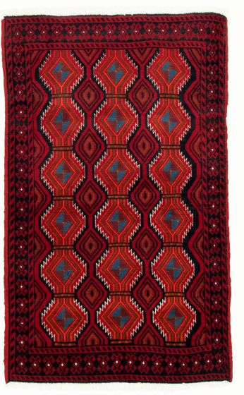 Bordered  Tribal Red Area rug 3x5 Afghan Hand-knotted 334757