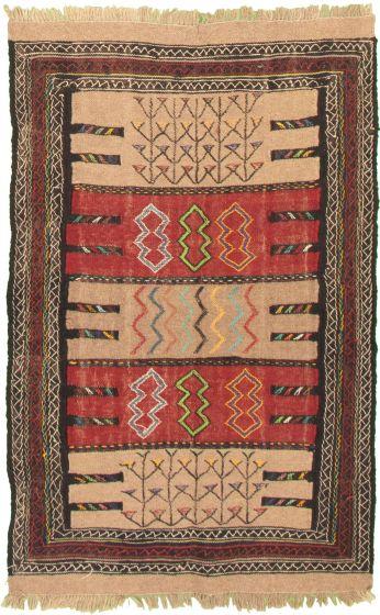Bordered  Tribal Brown Area rug 3x5 Turkish Flat-weave 334959