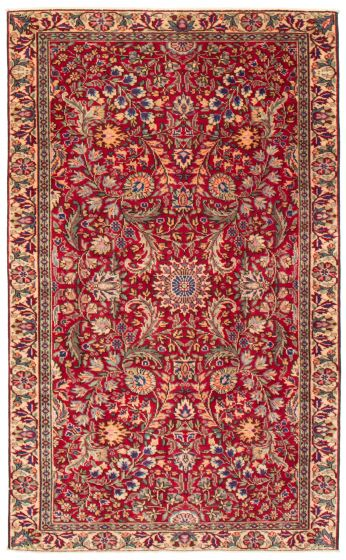 Bordered  Traditional Red Area rug 5x8 Turkish Hand-knotted 367174