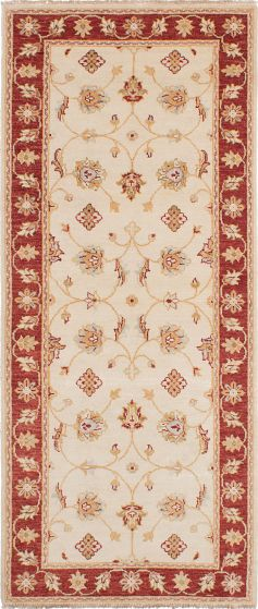 Traditional Ivory Runner rug 10-ft-runner Indian Hand-knotted 223958