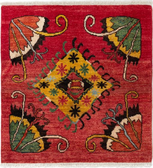 Casual  Transitional Red Area rug Square Indian Hand-knotted 280557