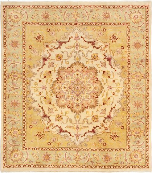 Bordered  Traditional Green Area rug 6x9 Turkish Hand-knotted 281104