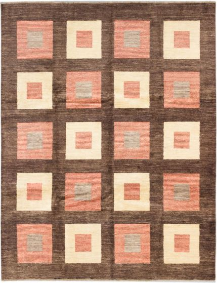 Transitional Brown Area rug 8x10 Pakistani Hand-knotted 185499