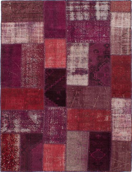 Transitional Red Area rug 4x6 Turkish Hand-knotted 231693