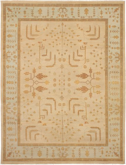 Bohemian  Traditional Brown Area rug 9x12 Indian Hand-knotted 271821