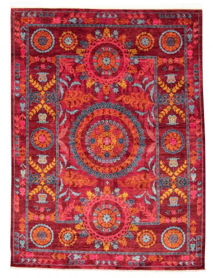 Bordered  Transitional Red Area rug 6x9 Pakistani Hand-knotted 311184