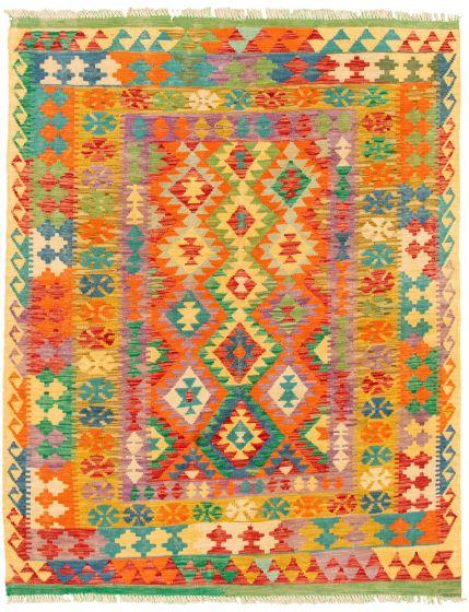 Bordered  Geometric Multi Area rug 4x6 Turkish Flat-weave 330221