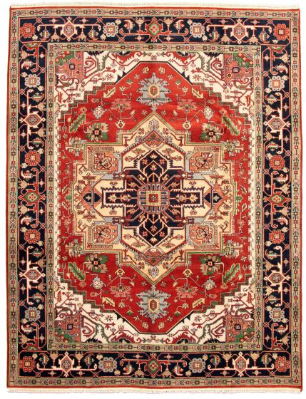 Bordered  Traditional Brown Area rug 9x12 Indian Hand-knotted 331272