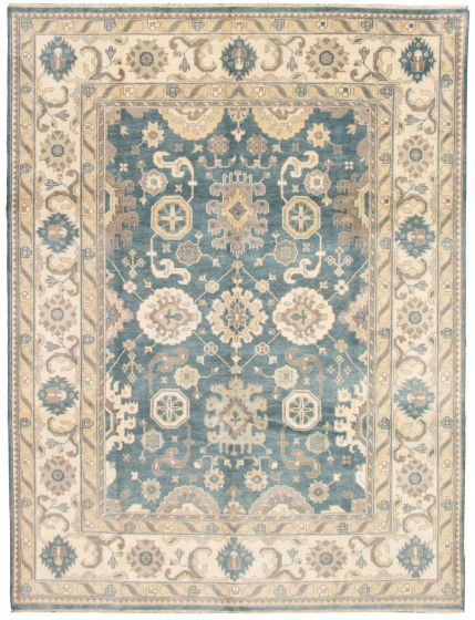 Bordered  Traditional Blue Area rug 9x12 Indian Hand-knotted 331299