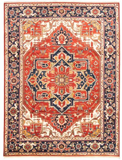 Bordered  Traditional Red Area rug 9x12 Indian Hand-knotted 331312