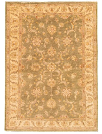 Bordered  Traditional Green Area rug 5x8 Afghan Hand-knotted 331486