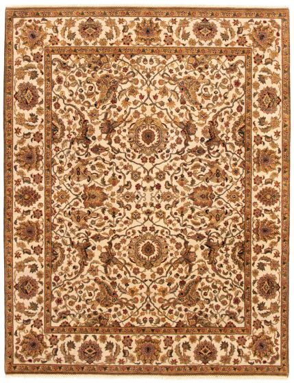 Bordered  Traditional Ivory Area rug 6x9 Indian Hand-knotted 335506