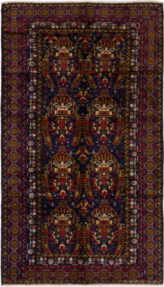 Bordered  Tribal Blue Area rug 6x9 Afghan Hand-knotted 280204