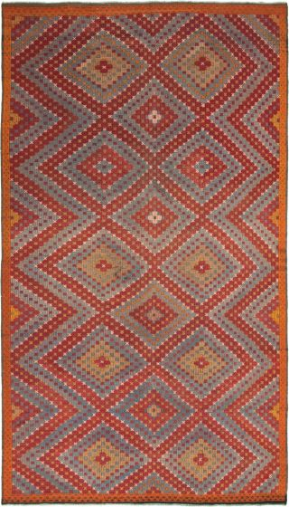 Bordered  Tribal Red Area rug Unique Turkish Flat-weave 292914