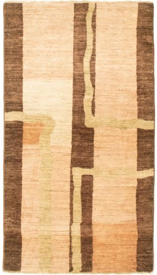 Casual  Transitional Ivory Area rug 3x5 Pakistani Hand-knotted 331592