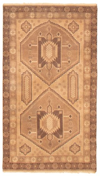 Geometric  Tribal Brown Area rug 3x5 Afghan Hand-knotted 367519