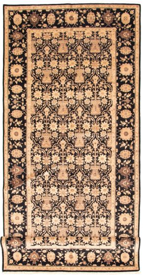 Bordered  Traditional Black Runner rug 16-ft-runner Afghan Hand-knotted 330334