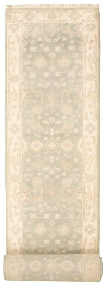 Bordered  Traditional Grey Runner rug 20-ft-runner Indian Hand-knotted 313898