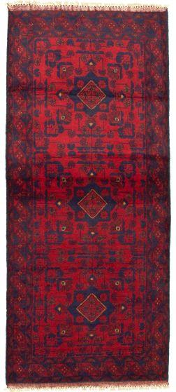 Bordered  Tribal Red Runner rug 6-ft-runner Afghan Hand-knotted 330312