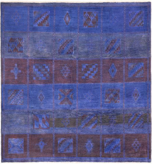 Overdyed  Transitional Blue Area rug Square Indian Hand-knotted 280496