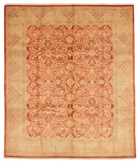 Bordered  Traditional Brown Area rug 6x9 Pakistani Hand-knotted 331174