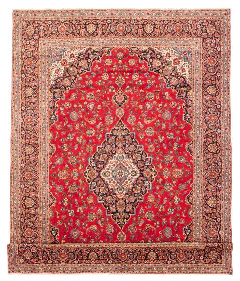 Bordered  Traditional Red Area rug 10x14 Persian Hand-knotted 366584