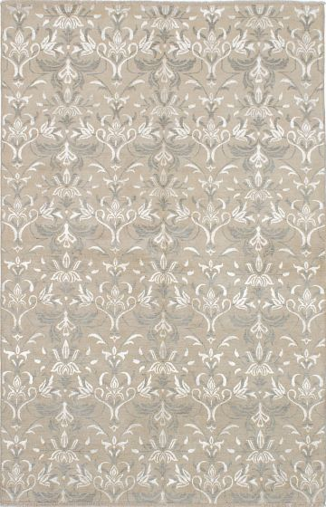 Transitional Ivory Area rug 5x8 Indian Hand-knotted 222407