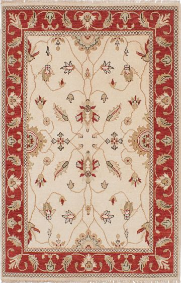 Traditional Ivory Area rug 3x5 Indian Hand-knotted 223929