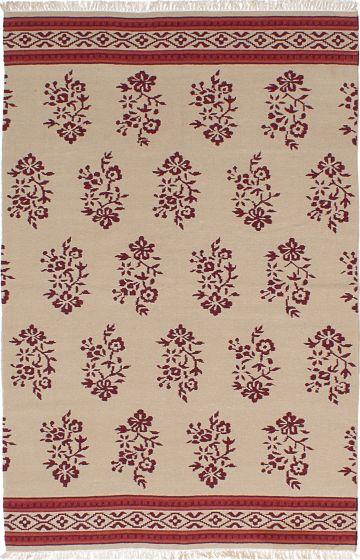 Transitional Ivory Area rug 5x8 Turkish Flat-weave 228419